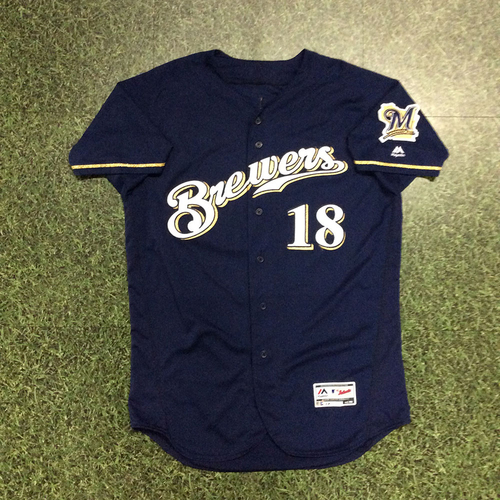 Photo of Mike Moustakas 08/05/18 Game-Used Navy Alternate Jersey - 1st HR with Milwaukee Brewers