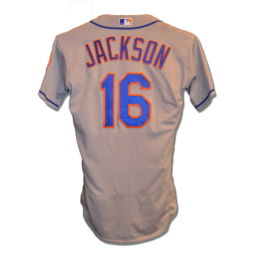 Photo of Austin Jackson #16 - Game Used Road Grey Jersey - Mets vs. Nationals - 8/1/18
