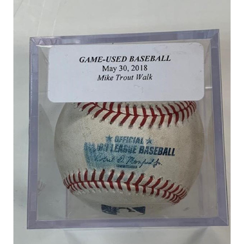 Game-Used Baseball: Mike Trout Walk