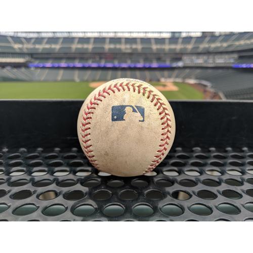 Photo of Colorado Rockies Game-Used Baseball - Bettis v. Barnes - RBI Single to Desmond, Hernandez scores - April 7, 2019