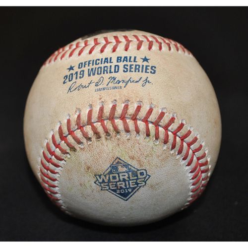 Photo of Game-Used Baseball: 2019 World Series - Game 3: Pitcher: Anibal Sanchez, Batter: Michael Brantley (RBI Single, Jose Altuve Scores) - Top 5