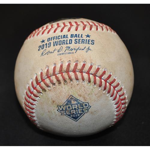 Photo of Game-Used Baseball: 2019 World Series - Game 3: Pitcher: Anibal Sanchez, Batter: Michael Brantley (RBI Single, Jose Altuve Scores) - Top 5