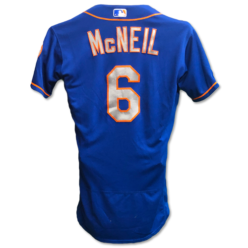Photo of Jeff McNeil #6 - Team Issued Blue Alt. Road Jersey - 2019 Season
