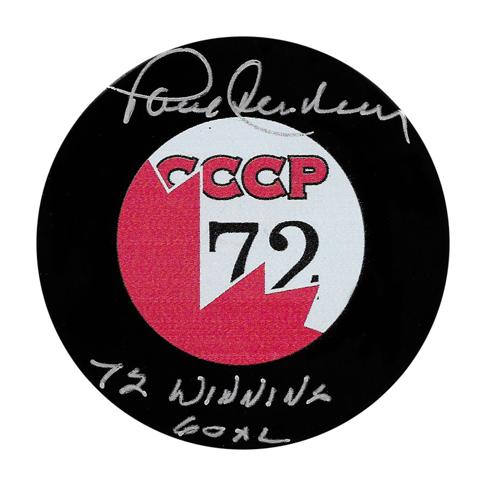 Paul Henderson Autographed 1972 Summit Series Puck w/72 WINNING GOAL Inscription