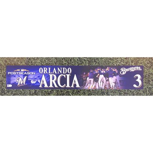 Photo of Orlando Arcia 2018 Game-Used Postseason (NLDS) Locker Nameplate