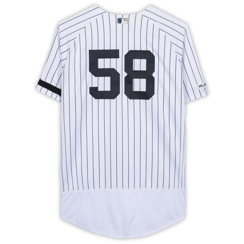 Photo of Larry Rothschild New York Yankees Game-Used #58 White Pinstripe Jersey vs. Baltimore Orioles on March 28, 2019 - Size 50