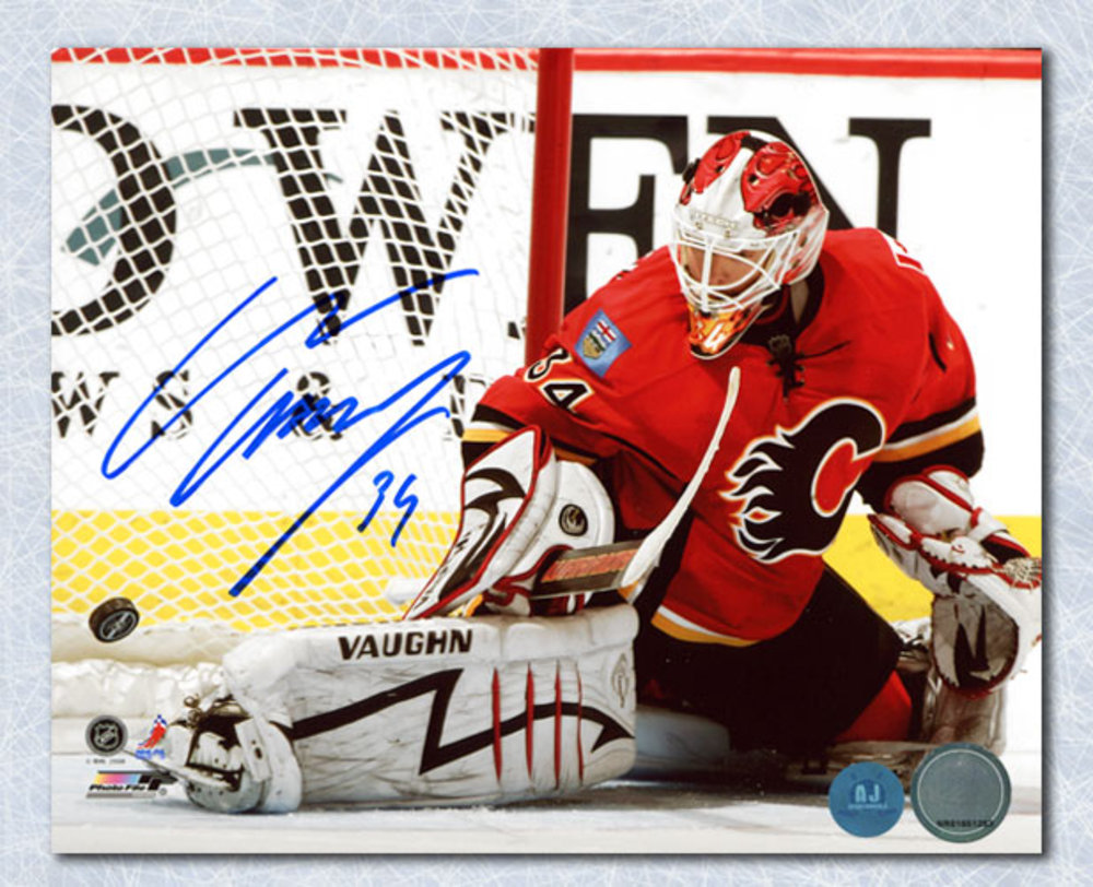 Miikka Kiprusoff Calgary Flames Autographed Kick Save 8x10 Photo
