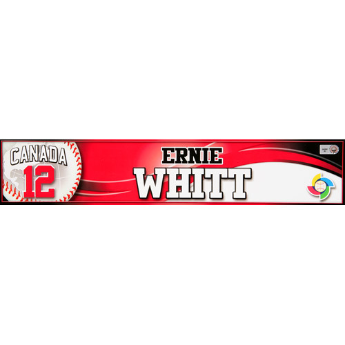 Photo of 2013 WBC: Canada Game-Used Locker Name Plate - #12 Ernie Whitt