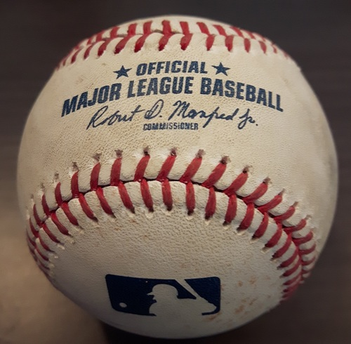 Photo of Authenticated Game Used Baseball - September 20, 2017: Mike Moustakas Double against Luis Santos (Top 2)