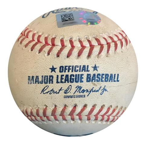 Photo of Game-Used Baseball from Pirates vs. Padres on 5/18/18 - Austin Meadows MLB Debut