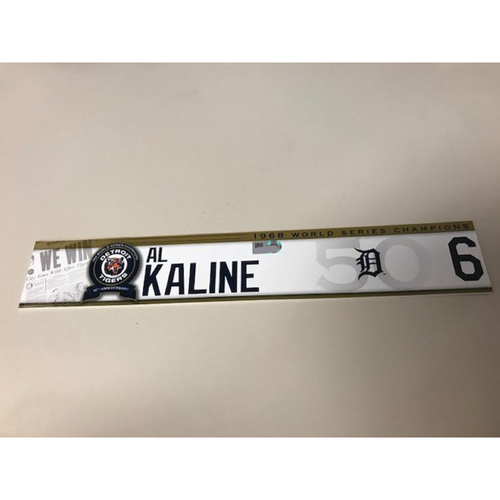 Photo of Team-Issued 1968 World Series Champions 50th Anniversary Locker Name Plate: Al Kaline