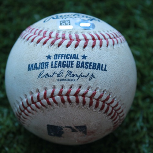 Game-Used Baseball: Zach Eflin 2nd Career Shutout - Jorge Soler Hit By Pitch (PHI @ KC - 5/11/19)