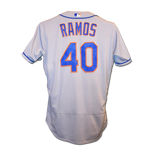 Photo of Wilson Ramos #40 - Game Used Road Grey Jersey - 4-5, HR (11), 6 RBI's (Career High), and 1 Run Scored - Mets vs. Pirates - 8/3/2019