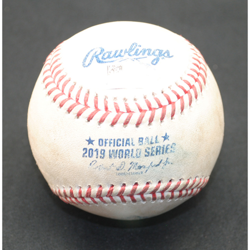 Photo of Game-Used Baseball: 2019 World Series - Game 5: Pitcher: Joe Ross, Batter: Alex Bregman (Lineout) - Top 2