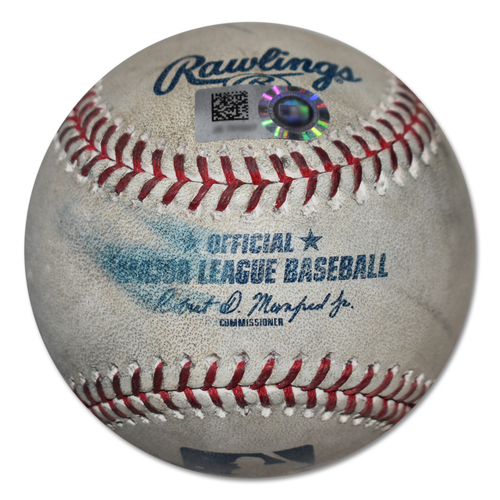 Photo of Game-Used Baseball - Noah Syndergaard to Francisco Cervelli - Strikeout - Noah Syndergaard to Dansby Swanson - Foul Ball - 7th Inning - Mets vs. Braves - 9/29/19