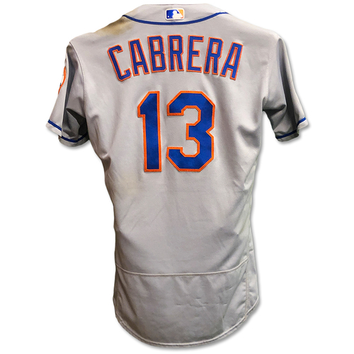 Photo of Asdrubal Cabrera #13 - Game Used Road Grey Jersey - 2-5, 2 HR's, 3 RBI's and 2 Runs Scored - Mets vs. Braves - 5/29/18