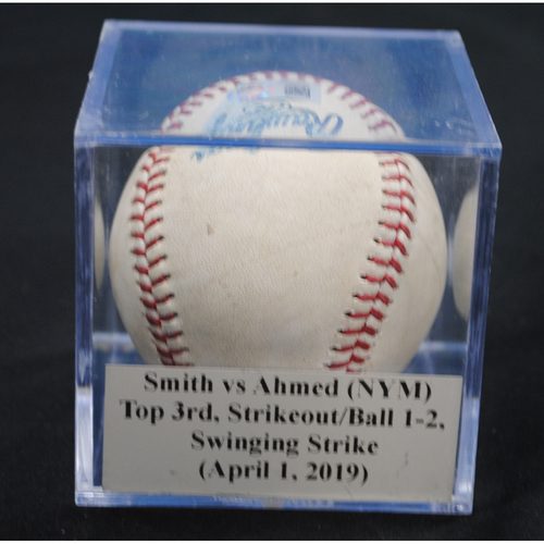 Photo of Game-Used Baseball: Caleb Smith vs Amed Rosario/Pete Alonso (NYM), Top 3rd, Strikeout/Ball, Swinging Strike (April 1, 2019)