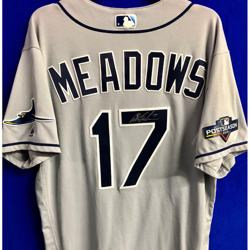 Photo of Team Issued Postseason Autographed Jersey: Austin Meadows