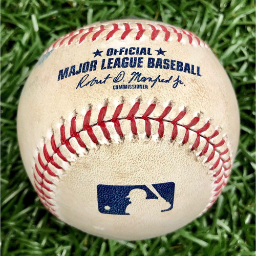 Photo of Game Used Baseball: Yandy Diaz Double off Martin Perez - August 5, 2020 v BOS