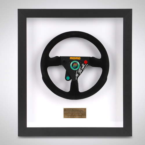 Photo of Michael Schumacher 1992 Framed Belgium GP Race-Used Steering Wheel - 1st Race...