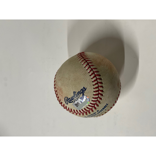 Photo of Game Used Baseball - 8/22/2020 Tigers @ Indians Domingo Santana 3-RBI Double
