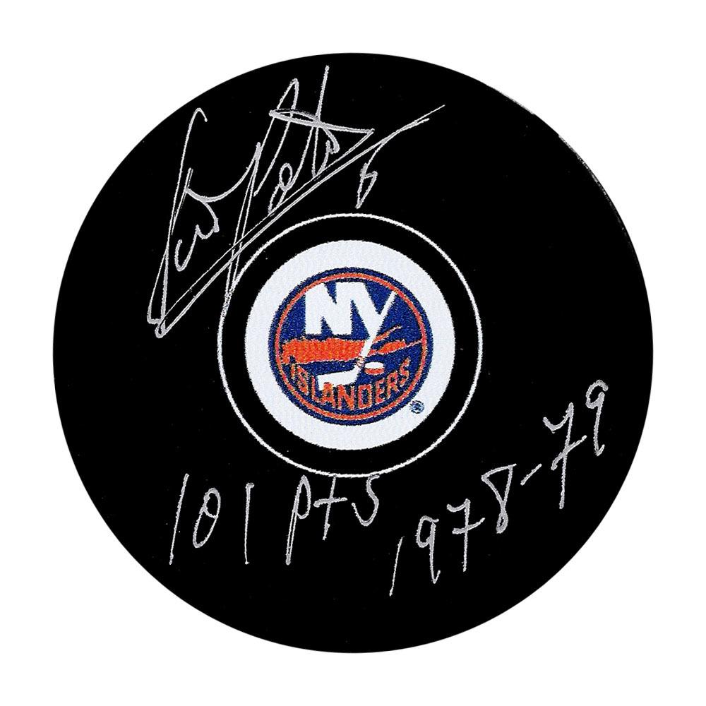 Denis Potvin Autographed New York Islanders Puck w/101 PTS 1978-79 Inscription
