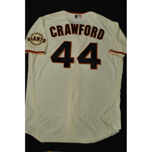 Photo of Hank Aaron Chasing the Dream Foundation: Brandon Crawford 2021 MLB All-Star Workout Day BP-Worn # 44 Jersey