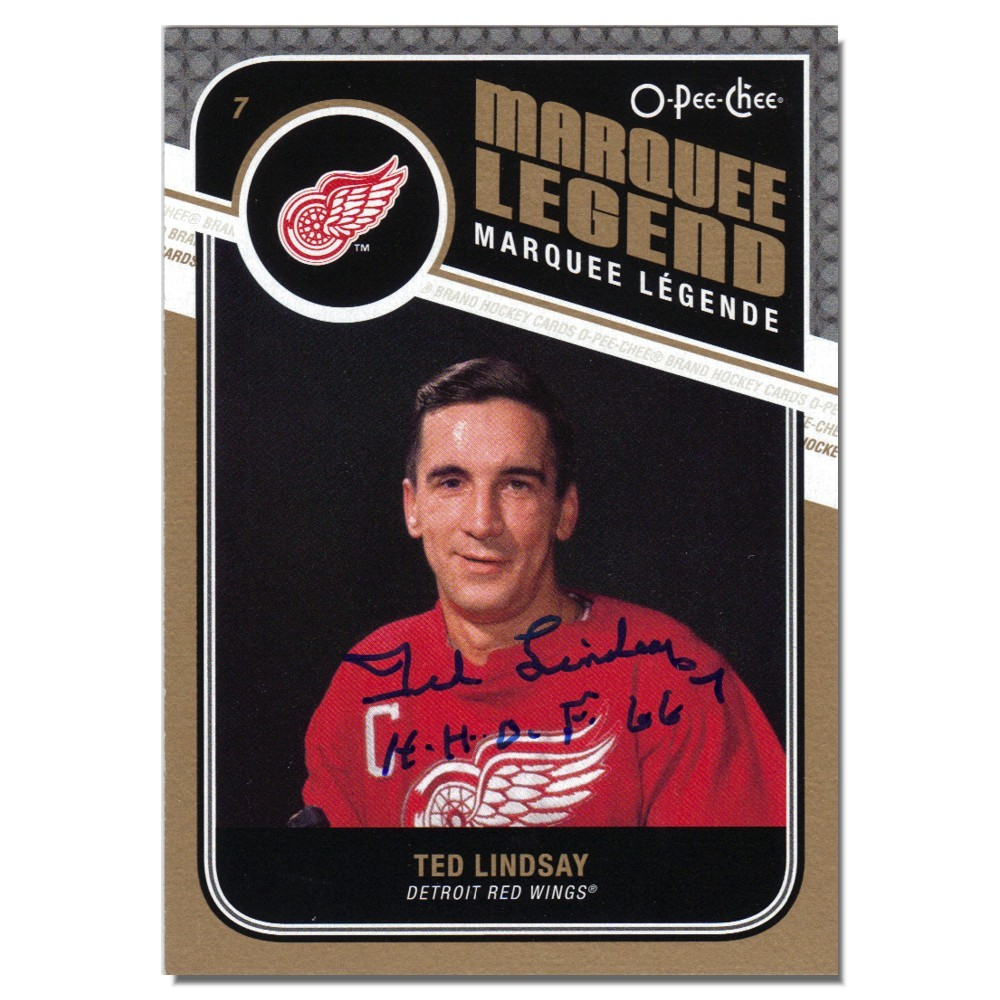 Ted Lindsay Autographed Detroit Red Wings Hockey Card