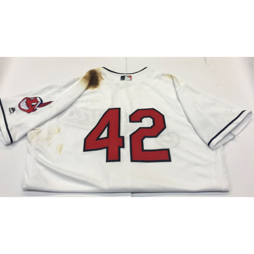 Photo of Carlos Santana Game-Used 2017 #42 Jersey