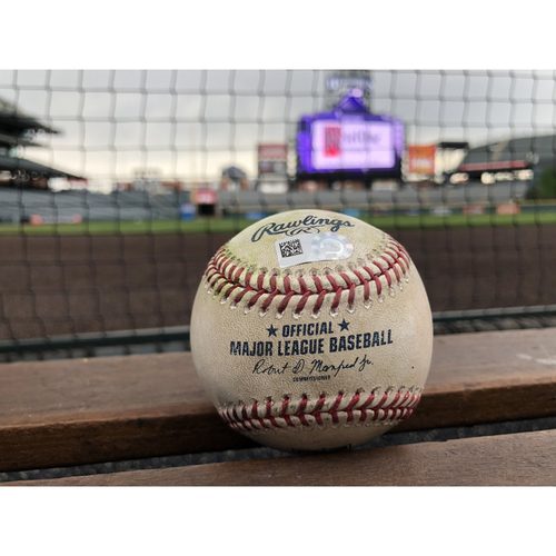 Colorado Rockies Game-Used Baseball - Pounders v. Upton - Double - May 9, 2018