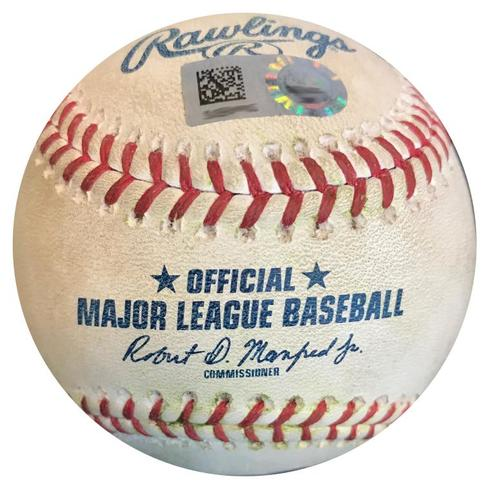 Photo of Game-Used Baseball from Pirates vs. Padres on 5/19/18 - Freese Double, Meadows Ground Out, Mercer RBI Single, Diaz Single