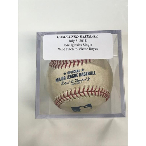 Photo of Game-Used Baseball: Jose Iglesias Single and Wild Pitch to Victor Reyes