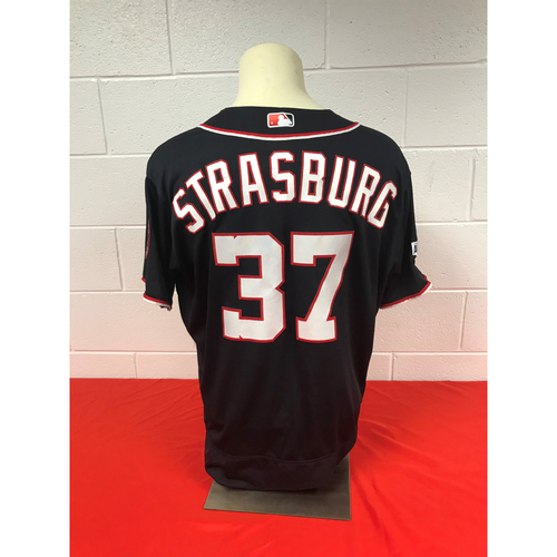 Photo of Stephen Strasburg Game-Used 2018 Navy Stars and Stripes Jersey with All Star Game Patch