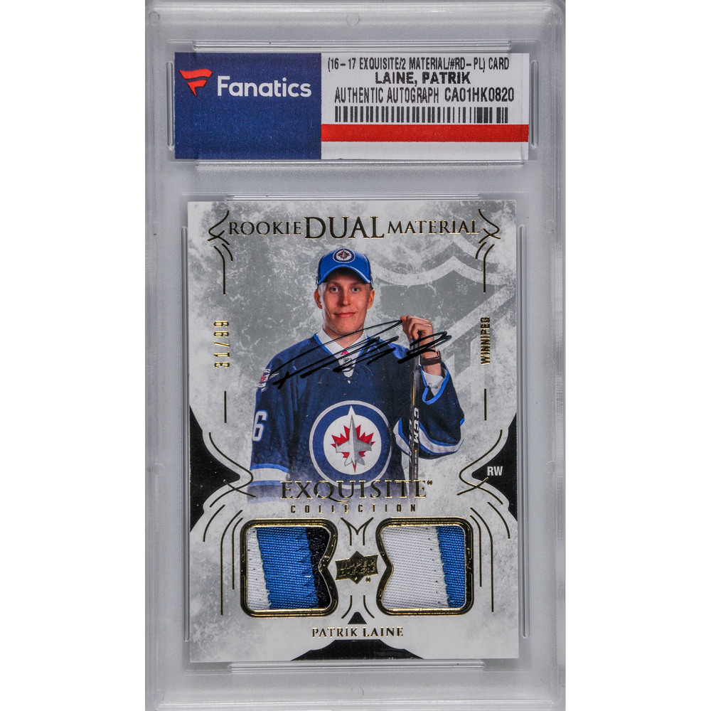 Patrik Laine Winnipeg Jets Autographed 2016-17 Upper Deck Exquisite Collection Rookie Dual Materials #RD-PL Dual-Jersey Patch Card - #31 of a Limited Edition of 99