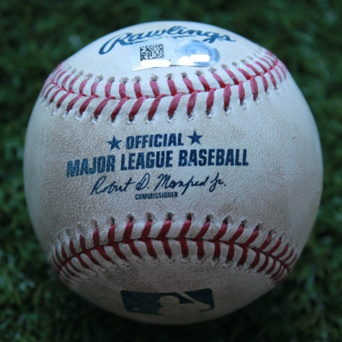 Game-Used Baseball: Willy Adames 12th Career Double and 39th and 40th Career RBIs (TB @ KC - 5/1/19)