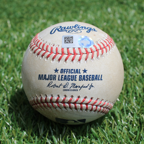 Photo of Game-Used Baseball: Tyler Naquin 188th Career Hit (CLE @ KC - 7/2/19)