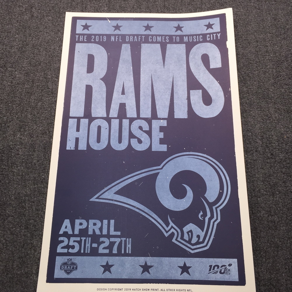 NFL - Rams Limited Edition Original Hatch Show Print 2019 NFL Draft Poster