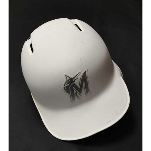 "Photo of Wei-Yin ""WEIGH-IN"" Chen Miami Marlins Team-Issued 2019 Players' Weekend Helmet"