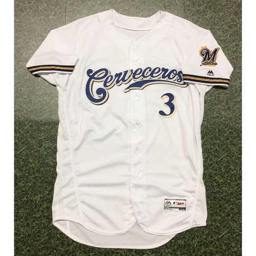 Photo of Orlando Arcia 2019 Game-Used Cerveceros Jersey