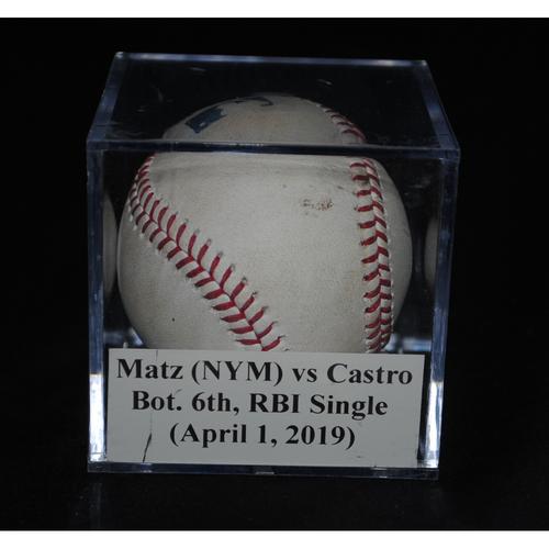 Photo of Game-Used Baseball: Steven Matz (NYM) vs Starlin Castro, Bot. 6th, RBI Single (April 1, 2019)