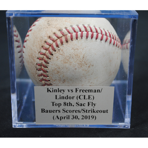 Photo of Game-Used Baseball: Tyler Kinley vs Mike Freeman/Francisco Lindor (CLE), Top 8th, Sac Fly - Jake Bauers Scores/Strikeout (April 30, 2019)