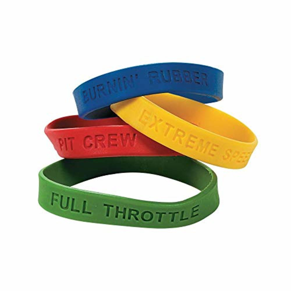 "Photo of 12 ~ Race Car Rubber Bracelets ~ Burnin' Rubber, Pit Crew, Extreme Speed, Full Throttle ~ 8"" Circle ~ New"