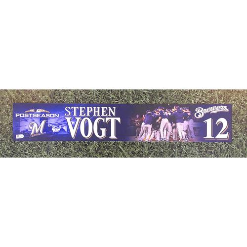 Photo of Stephen Vogt 2018 Game-Used Postseason (NLDS) Locker Nameplate