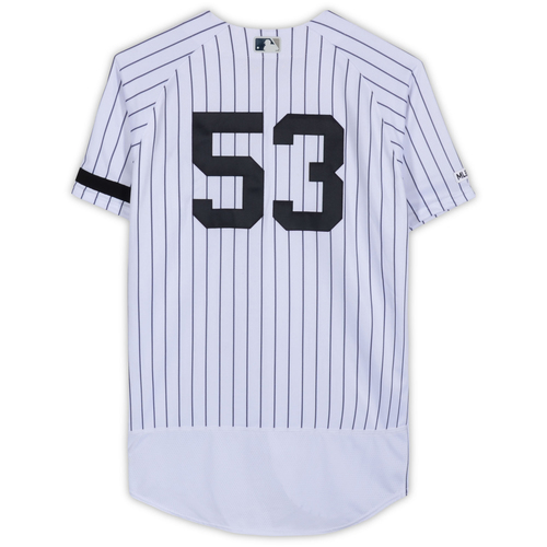 Photo of Zach Britton New York Yankees Game-Used #53 White Pinstripe Jersey vs. Baltimore Orioles on March 28, 2019 - Size 46