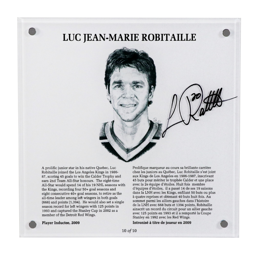 Luc Robitaille Autographed Legends Line Honoured Member Plaque - Limited Edition 5/10