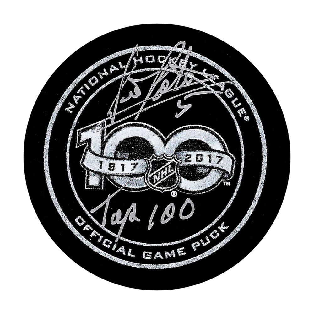 Denis Potvin Autographed NHL 100 Official Game Puck w/TOP 100 Inscription