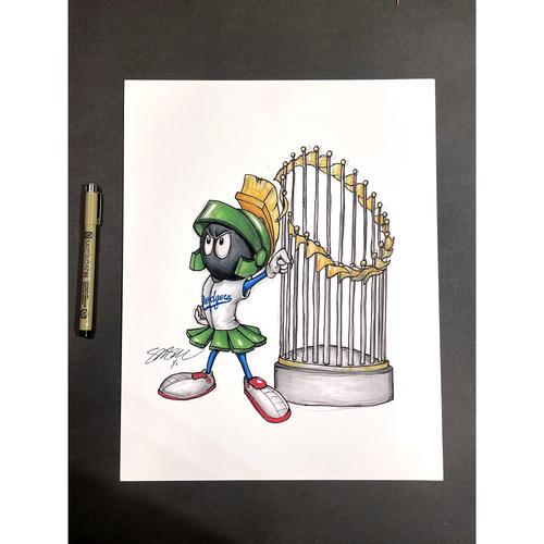 "Photo of Los Angeles Dodgers Original Art - ""World Series Marvin The Martian"" MLB x Looney Tunes by artist S. Preston"