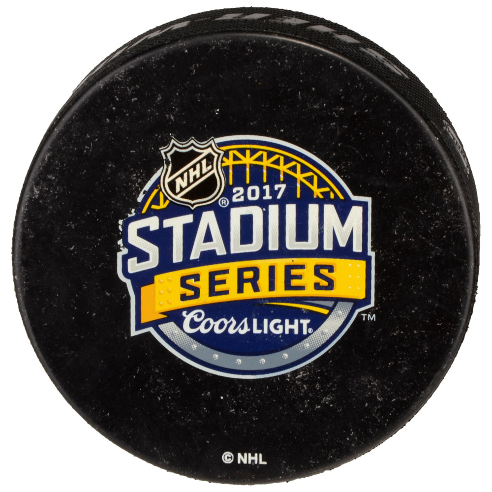 2017 Stadium Series Pittsburgh Penguins Practice-Used Puck - Used During February 24, 2017 Practice Session