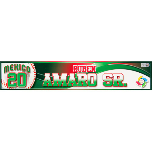 Photo of 2013 WBC: Mexico Game-Used Locker Name Plate - #20 Ruben Amaro Sr.
