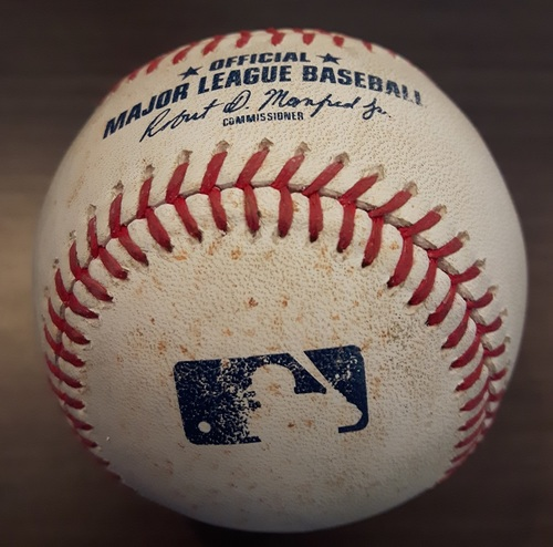 Photo of Authenticated Game Used Baseball - September 21, 2017: Single by Salvador Perez against J.A. Happ (Top 4)